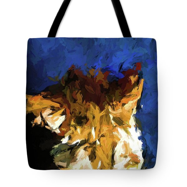 Cat And The Cobalt Blue Wall Tote Bag