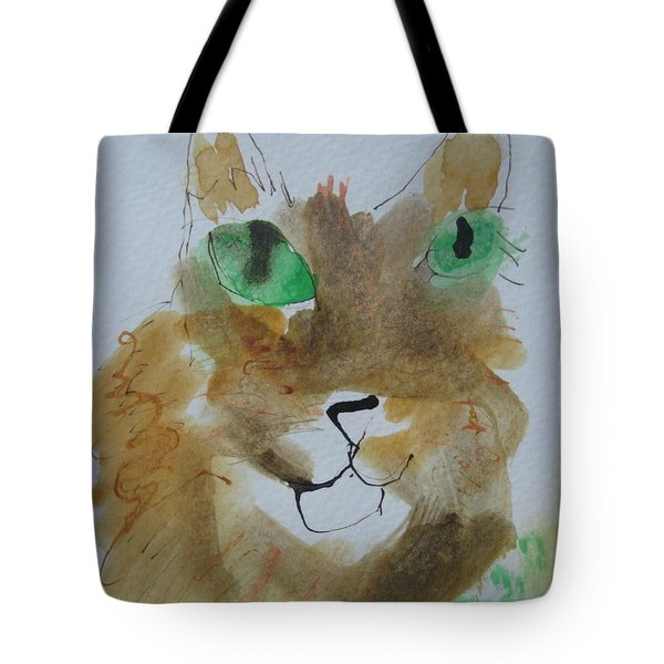 Cat Face Yellow Brown With Green Eyes Tote Bag