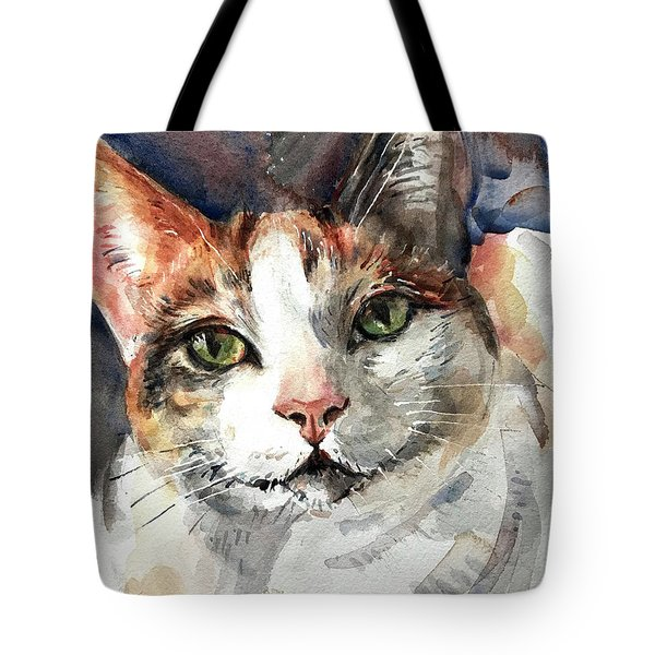 Cat In Watercolor Tote Bag