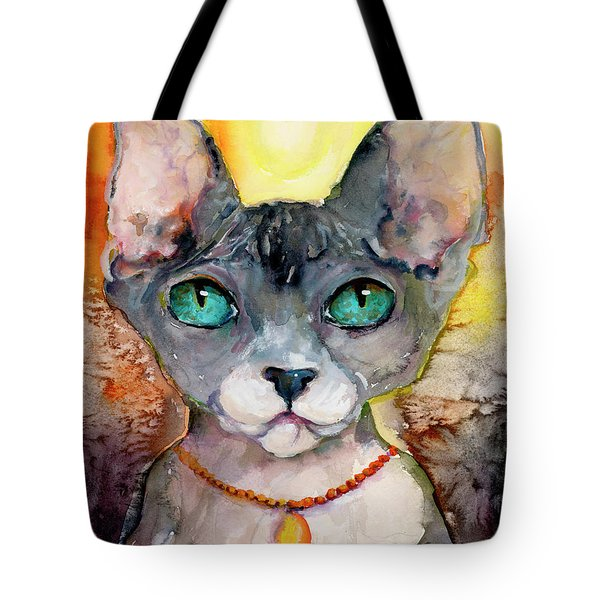 Tote Bag featuring the painting Cat Portrait My Name Is Adorable by Ginette Callaway