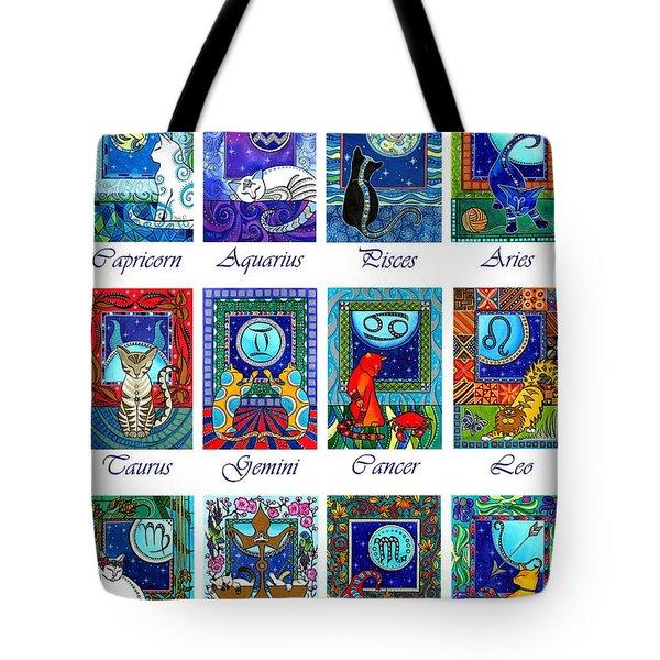 Cat Zodiac Astrological Signs Tote Bag