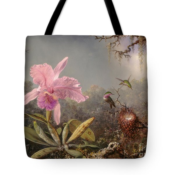 Cattleya Orchid And Three Hummingbirds, 1871 Tote Bag