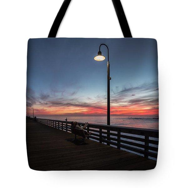 Cayucos Pier Sunset Tote Bag