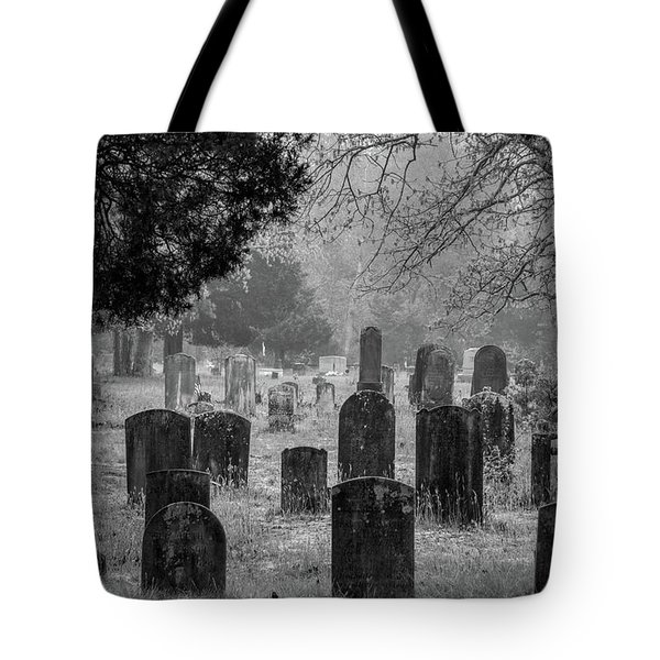 Tote Bag featuring the photograph Cemetery In The Pines Bw by Kristia Adams