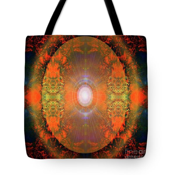 Tote Bag featuring the mixed media Central Sun by Sabine ShintaraRose Art