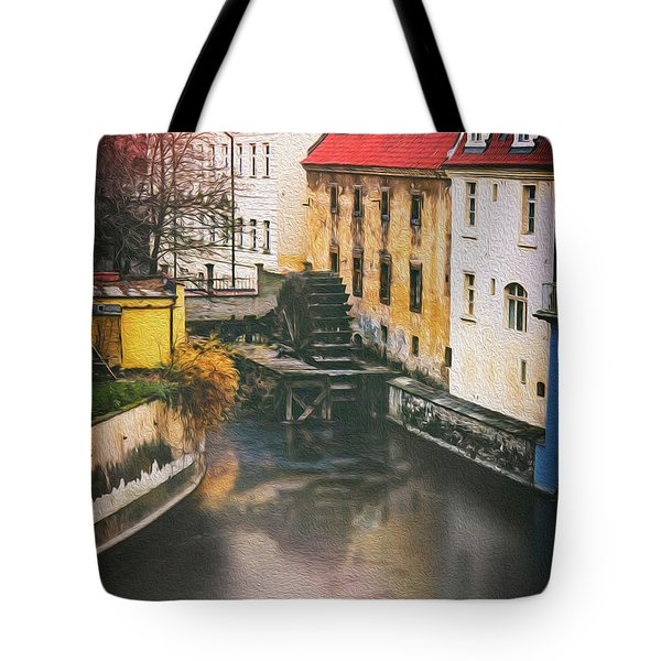 Certovka Canal And Old Water Wheel Prague Tote Bag