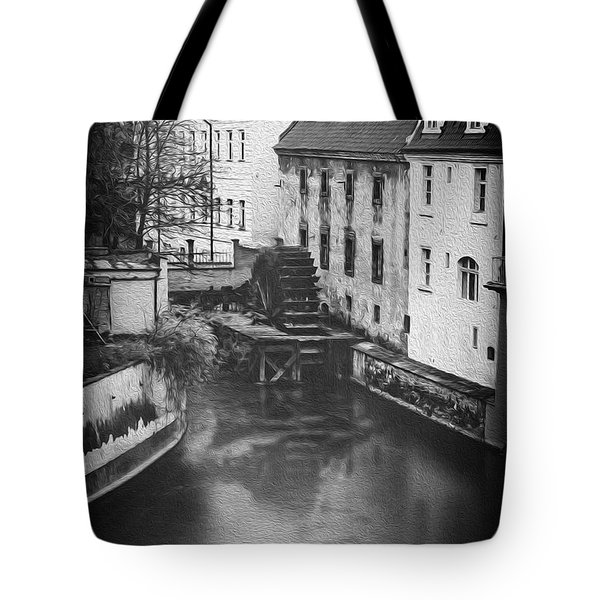Certovka Canal And Old Water Wheel Prague In Black And White Tote Bag
