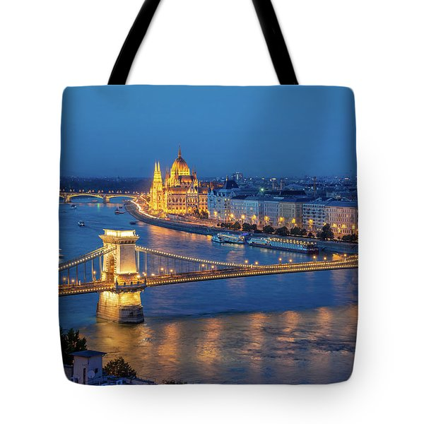 Chain Bridge And Budapest Parliament At Night Tote Bag