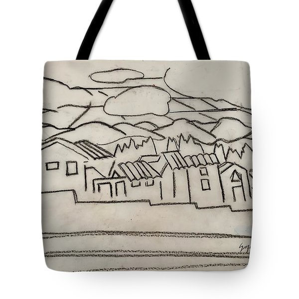 Charcoal Houses Sketch Tote Bag