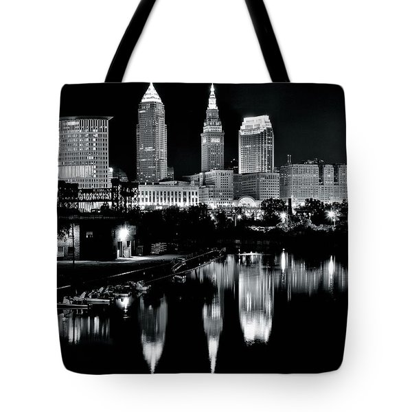 Charcoal Night View Of Cleveland Tote Bag