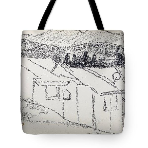 Charcoal Pencil Houses1.jpg Tote Bag