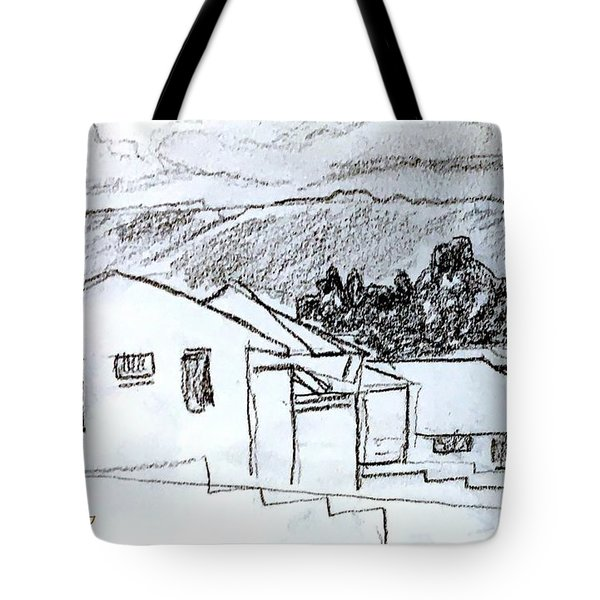 Charcoal Pencil Houses.jpg Tote Bag
