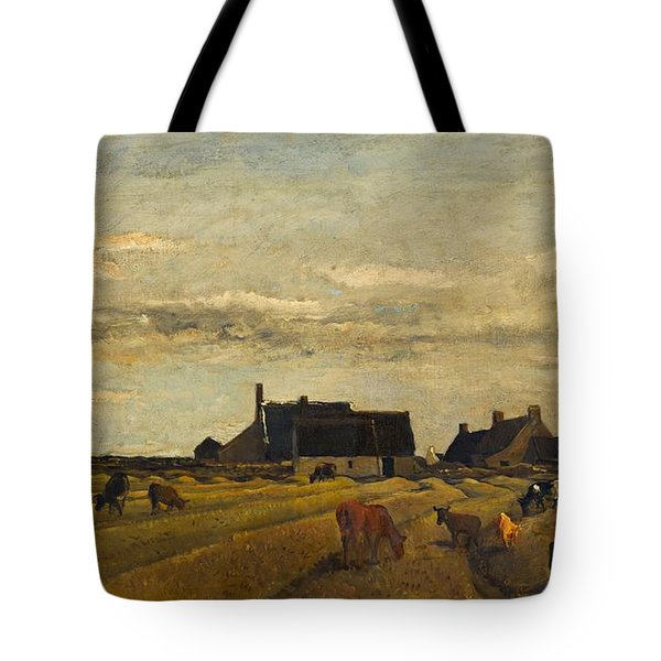 Charles-francois Daubigny - Farm At Kerity, Brittany Tote Bag