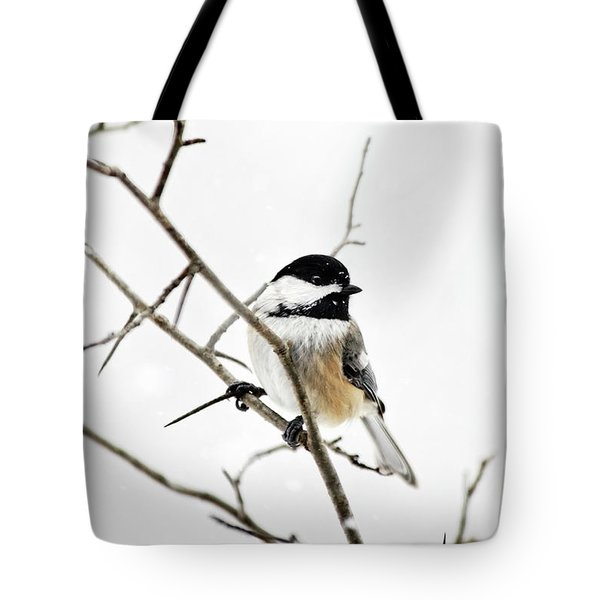 Charming Winter Chickadee Tote Bag