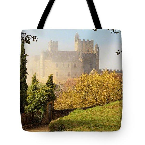 Chateau Beynac In The Mist Tote Bag