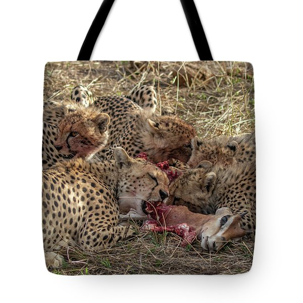 Tote Bag featuring the photograph Cheetahs And Grant's Gazelle by Thomas Kallmeyer