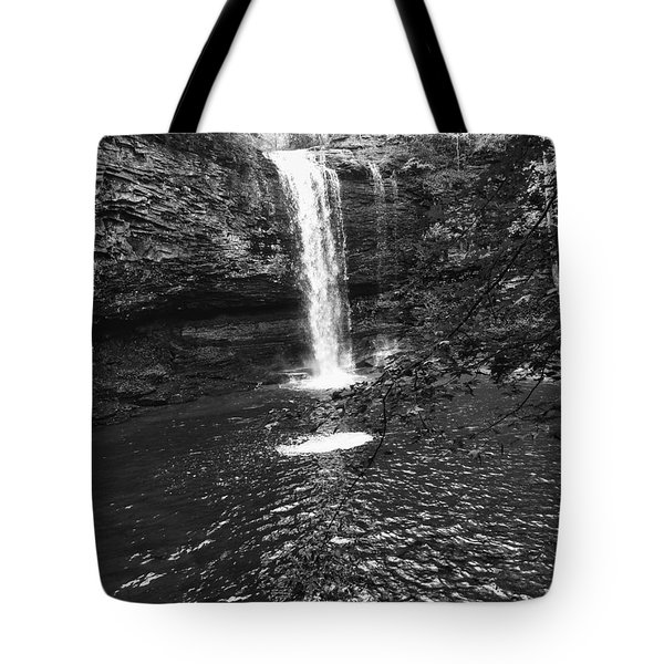 Tote Bag featuring the photograph Cherokee Falls Bnw by Rachel Hannah