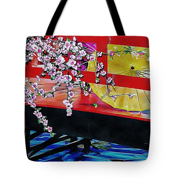 Tote Bag featuring the photograph Cherry Blossom Bridge by Dorothy Berry-Lound