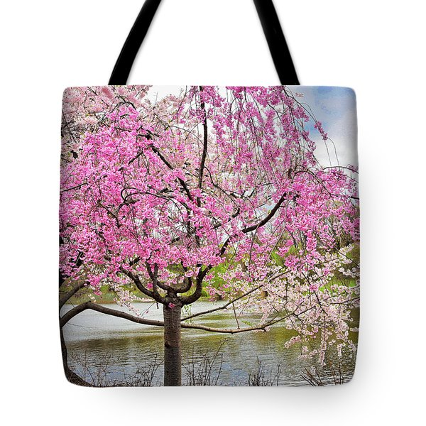 Cherry Blossom Lakeside  Tranquility Tote Bag