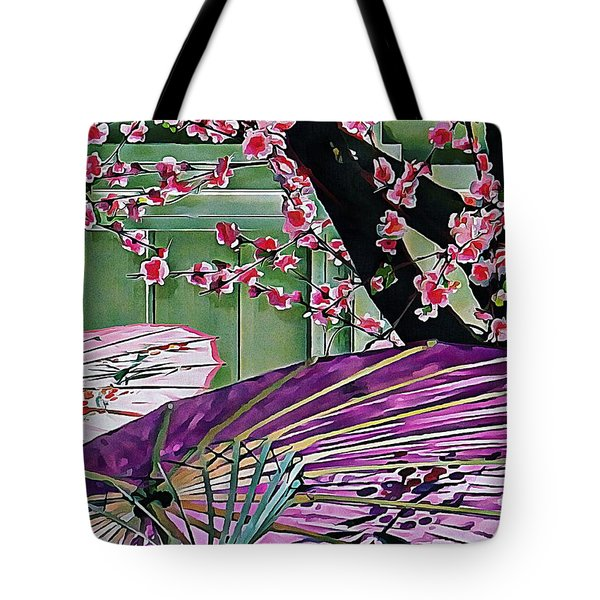 Tote Bag featuring the photograph Cherry Blossom Parasols by Dorothy Berry-Lound