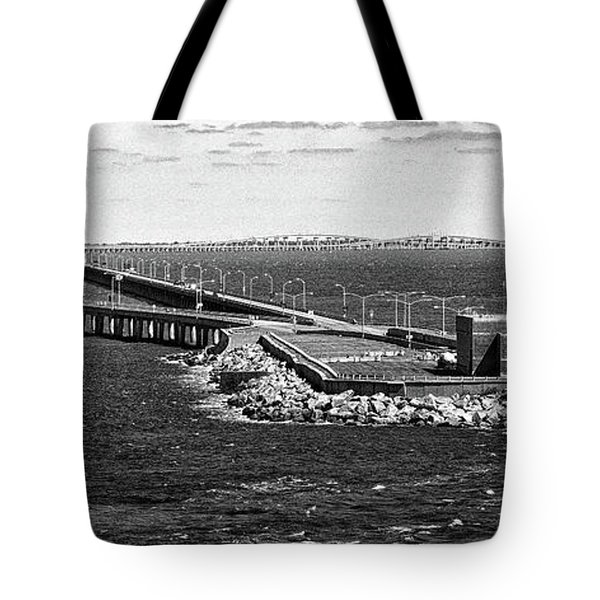 Tote Bag featuring the photograph Chesapeake Bay Bridge Tunnel E S V A Black And White by Bill Swartwout Fine Art Photography