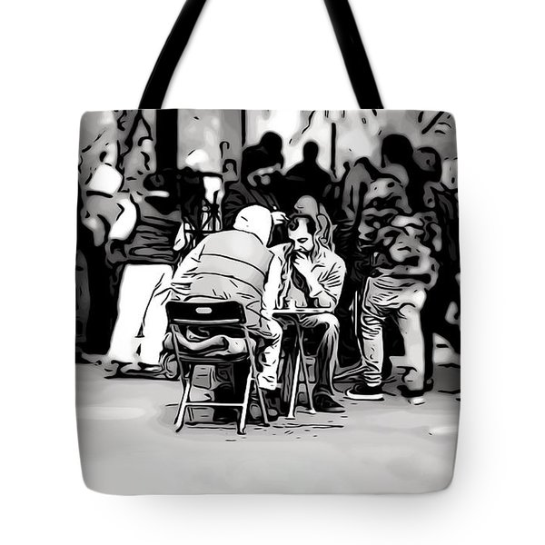 Chess Match Union Square  Tote Bag