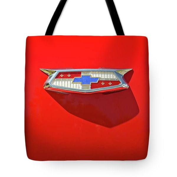 Chevrolet Emblem On A 55 Chevy Trunk Tote Bag