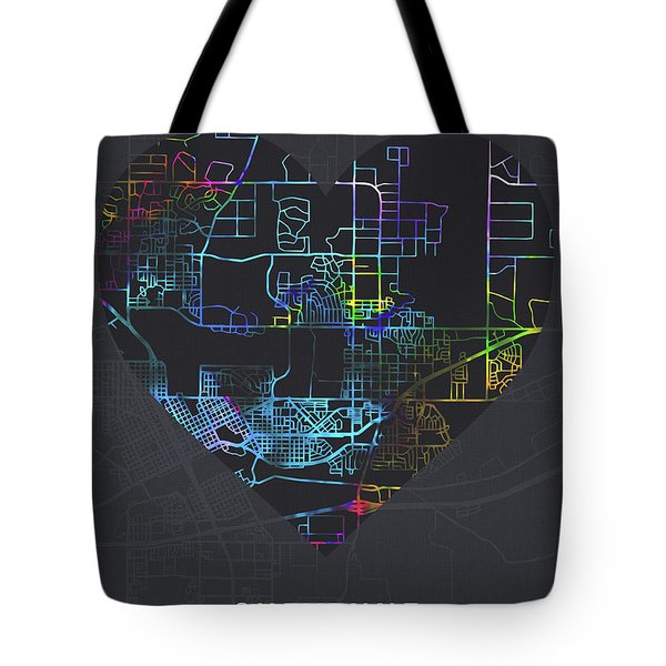 Cheyenne Wyoming City Heart Street Map Love Dark Mode Tote Bag