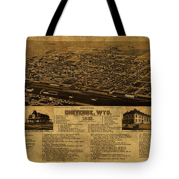 Cheyenne Wyoming Vintage City Street Map 1882 Tote Bag