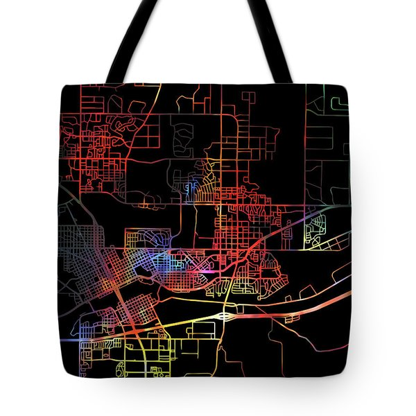 Cheyenne Wyoming Watercolor City Street Map Dark Mode Tote Bag