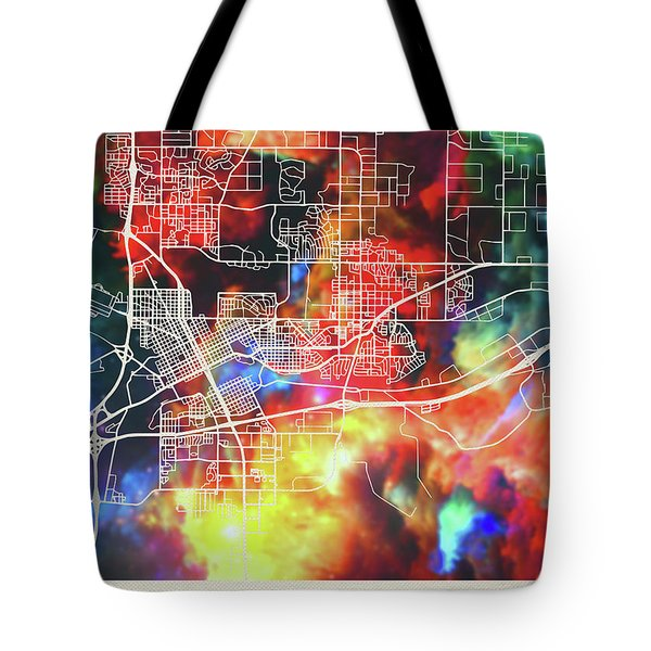 Cheyenne Wyoming Watercolor City Street Map Tote Bag