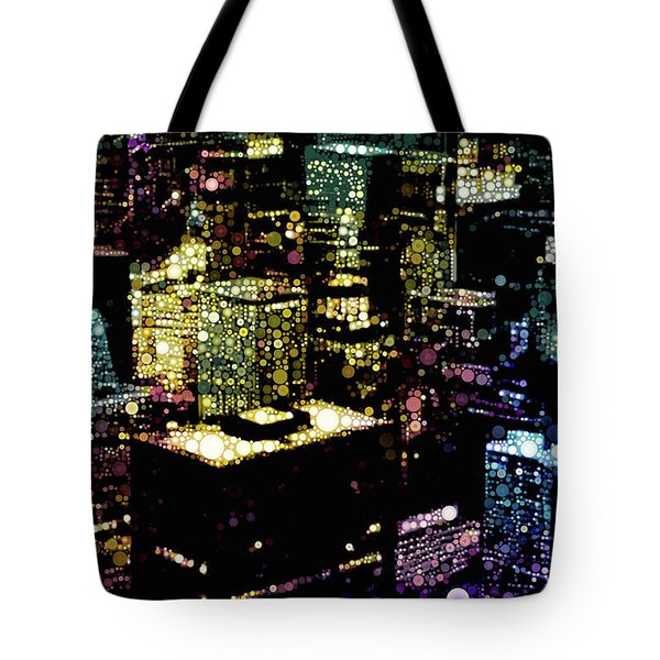 Tote Bag featuring the mixed media Chicago City Lights by Susan Maxwell Schmidt