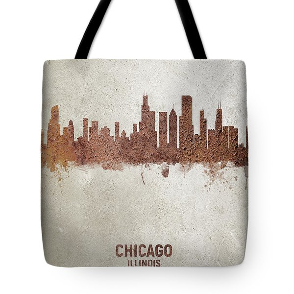Chicago Illinois Rust Skyline Tote Bag