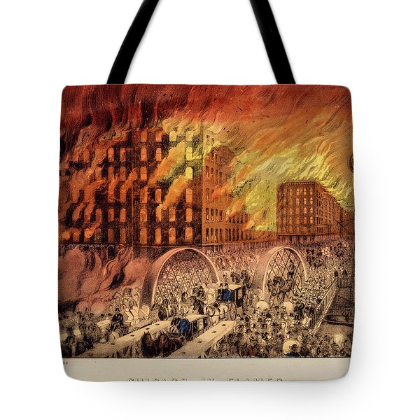 Chicago In Flames, 1871 Tote Bag