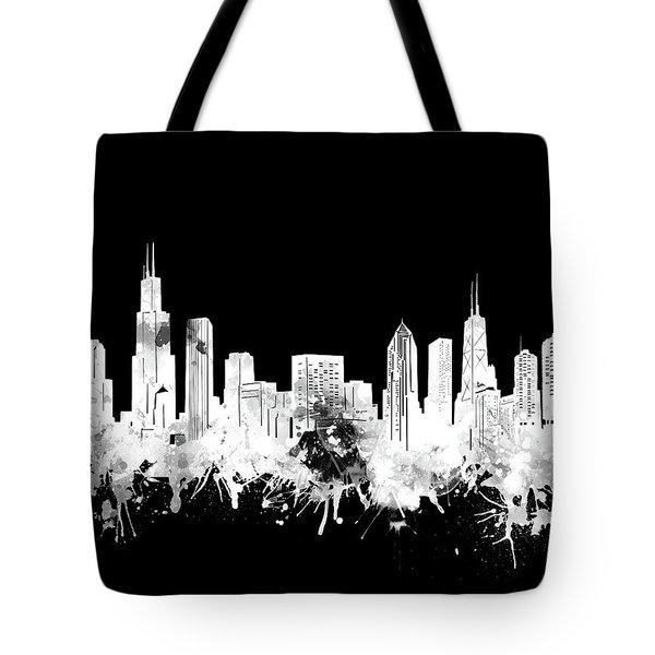 Chicago Skyline Black And White 2 Tote Bag