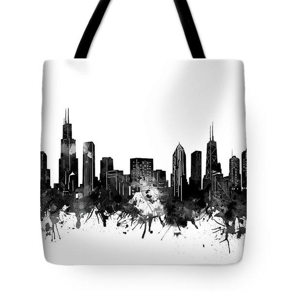 Chicago Skyline Black And White Tote Bag