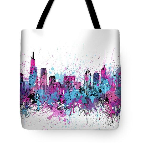 Chicago Skyline Color Splatter Tote Bag