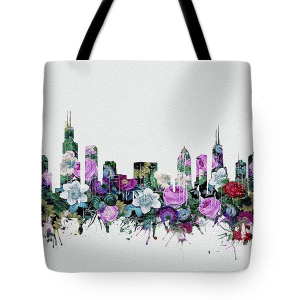 Chicago Skyline Floral Tote Bag
