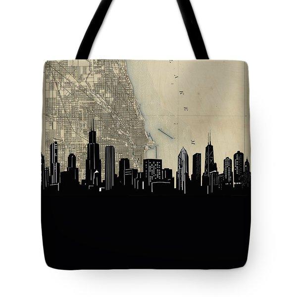 Chicago Skyline Map Tote Bag