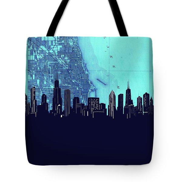 Chicago Skyline Map Blue 2 Tote Bag