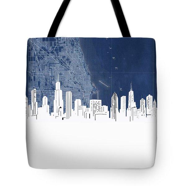 Chicago Skyline Map Blue Tote Bag