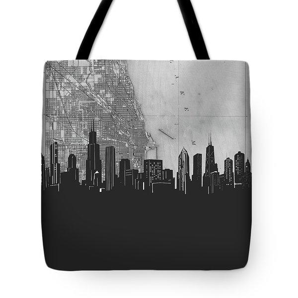 Chicago Skyline Map Grey Tote Bag