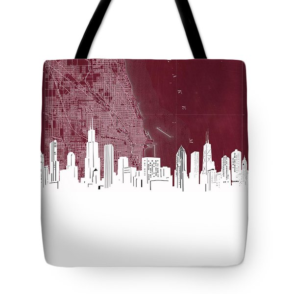 Chicago Skyline Map Red Tote Bag