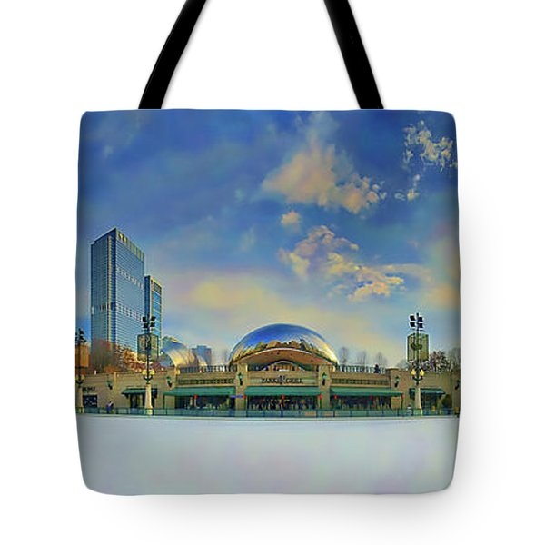 Tote Bag featuring the photograph Chicago Skyline Millennium Park Ice Rink by Tom Jelen