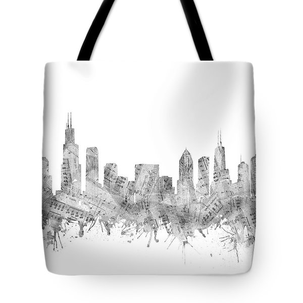 Chicago Skyline Music Notes Tote Bag