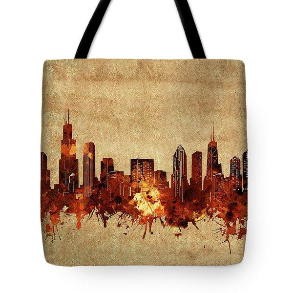 Chicago Skyline Vintage Tote Bag