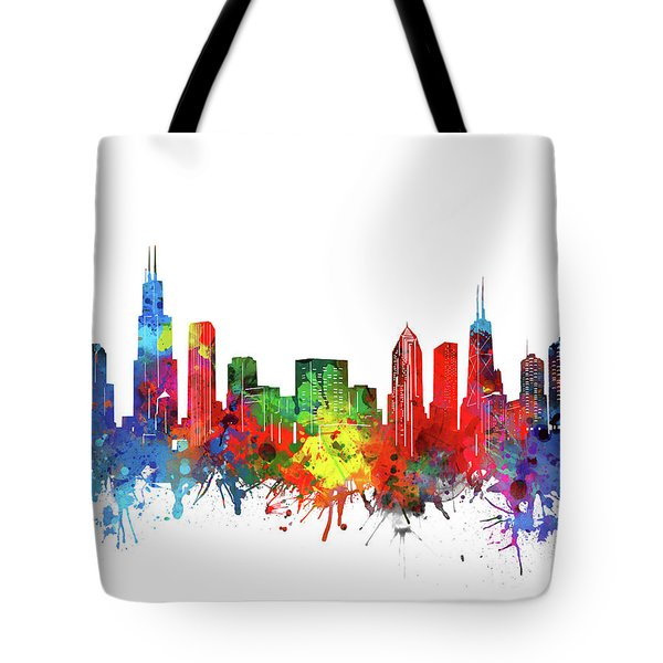 Chicago Skyline Watercolor Tote Bag
