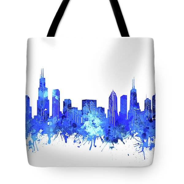 Chicago Skyline Watercolor Blue Tote Bag