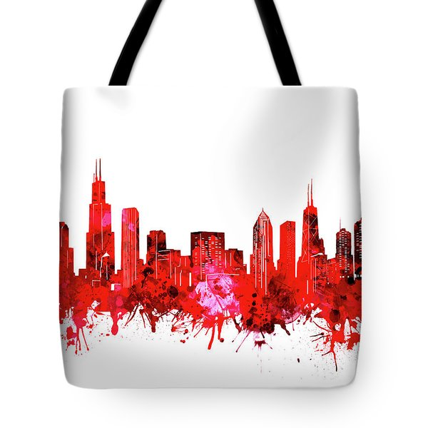Chicago Skyline Watercolor Red Tote Bag