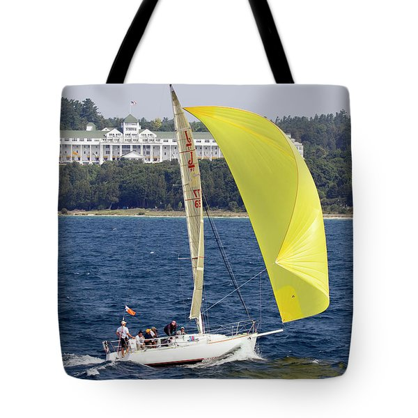 Chicago To Mackinac Yacht Race Sailboat With Grand Hotel Tote Bag